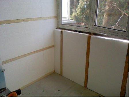 Пример утепления балкона пенопластом