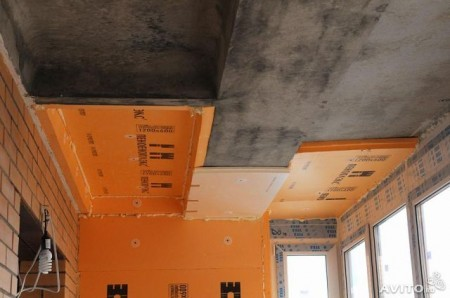 Монтаж листового пеноплекса на потолок лоджии