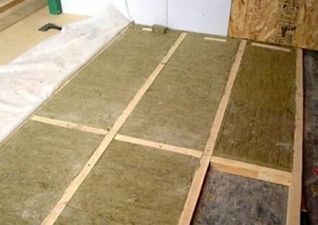 Укладка минеральной ваты в подготовленный каркас