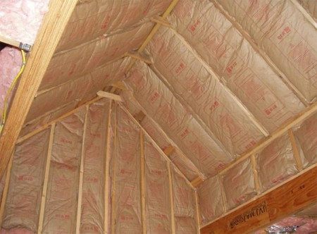 Крыша без чердака, утепленная минеральной ватой с обшивкой