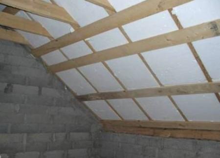 Утепление потолка бани пенополистирольными плитами