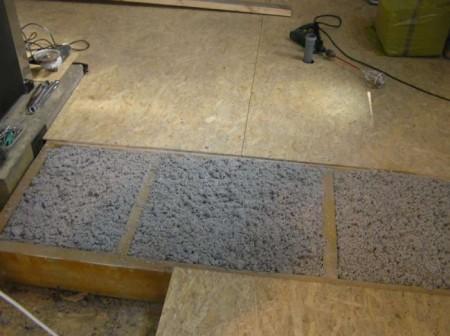 Опилки, смешанные с цементным раствором