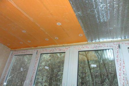 Теплоизоляция потолка лоджии